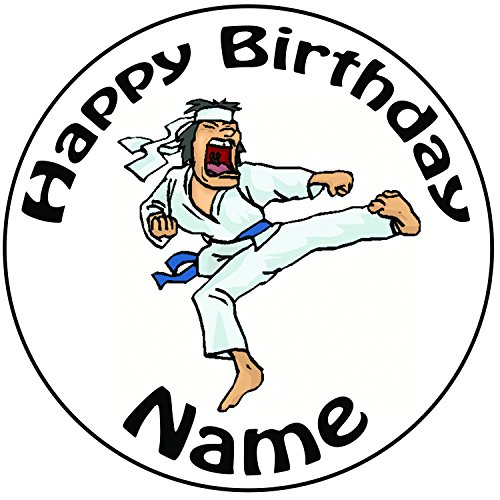 "Personalised Shouting Karate Man Cake Topper - A Pre-Cut Round 8"" (20cm) Icing Decoration from AK Giftshop"