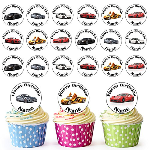 Sports Car Mix 24 Personalised Edible Cupcake Toppers/Birthday Cake Decorations - Easy Precut Circles from AK Giftshop