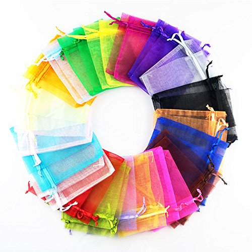 100 Mix Colours Premium Organza Gift Bags Jewellery Pouches XMAS Wedding Party Candy Favour (7cmx9cm) from AKA