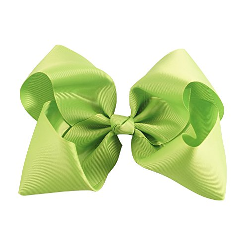 "AKA 6"" Big Bow Hairpins Hair Clips for Children Kids Girls Hair Handmade Alligator Clips Accessories (Green) from AKA"