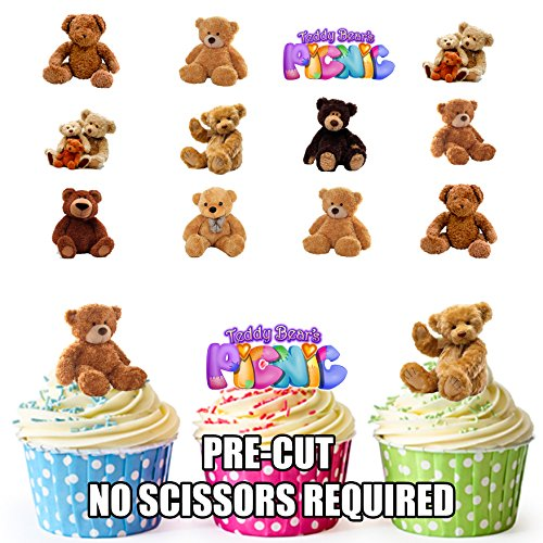 PRE-Cut Teddy Bears Picnic - Edible Cupcake Toppers/Cake Decorations (Pack of 36) from AK Giftshop