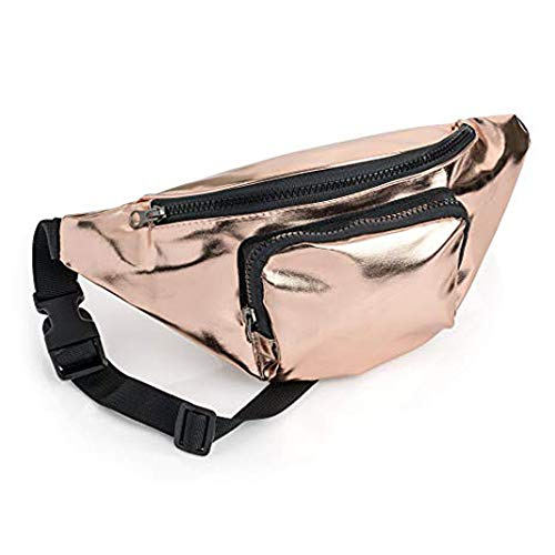 Rose Gold Coloured Metallic Finish Fabric Bum Bag/ Fanny Pack - Festivals/ Hols from ALANNAHS ACCESSORIES
