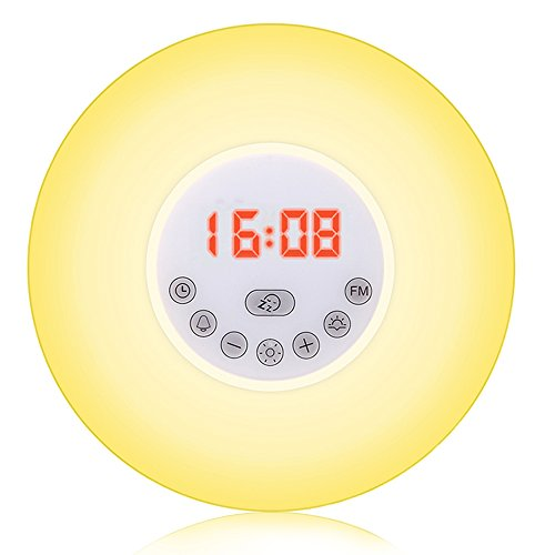 Sunrise Alarm Clock, Wake Up Light with Sunrise Sunset Simulation Snooze Function Night Light Colourful Bedside Lamp - 6 Nature Sounds, Multi Light Modes, Touch Control from ALFALED