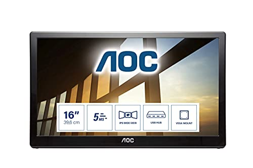 "AOC I1659FWUX 15.6"" Widescreen IPS LED Glossy Black USB Monitor (1920x1080/5ms/USB) from AOC"