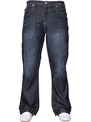 APT Mens Basic Blue Bootcut Wide Leg Flared Work Casual Jeans Big Sizes Dark Wash 30 W X30 from APT