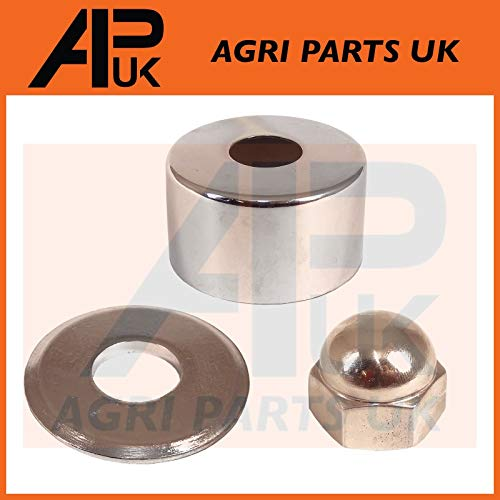 APUK Steering Wheel Column Chrome Guard Nut & Washer Compatible with Massey Ferguson FE35 135 Tractor from APUK