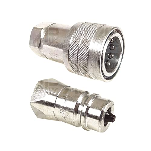 "APUK PAIR Hydraulic Quick Release Coupling 1/2"" BSP Set Tractor Loader Male & Female from APUK"
