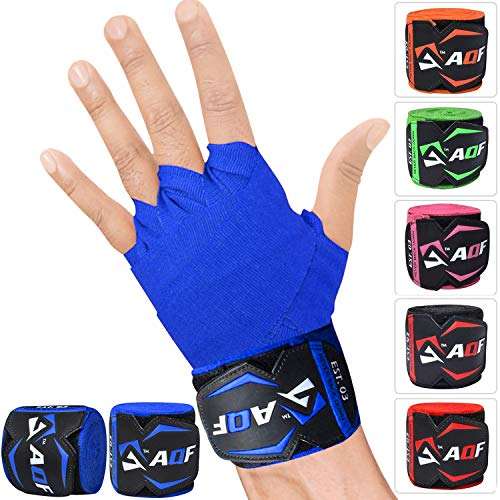 AQF 4.5m Hand Wraps Inner Gloves MMA Boxing Bandages Training Muay Thai Stretch (Blue) from AQF