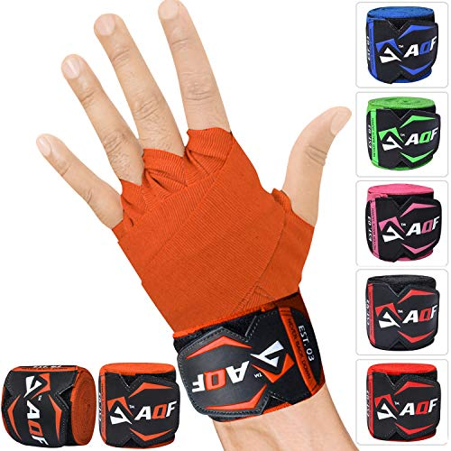 AQF 4.5m Hand Wraps Inner Gloves MMA Boxing Bandages Training Muay Thai Stretch (Orange) from AQF