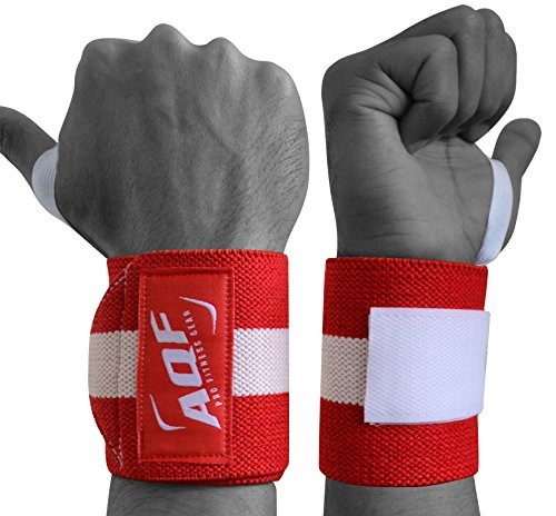 AQF Power Weight Lifting Wrist Wraps Supports Gym Training Fist Straps Red - Sold as Pair & One Size Fits All from AQF