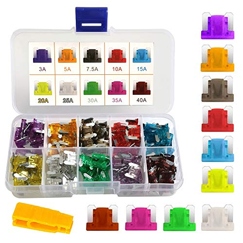 Gebildet Low Profile Car Fuse Set 100 pcs Assorted Small Blade Fuse Used for Auto, Car, Truck, SUV, Home (3/5/7.5/10/15/20/25/30/35/40 AMP Replacement Fuse) from Gebildet
