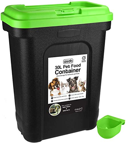 ASAB Dry Pet Food Storage Container - Top Flip Bin Lid with Scoop - Green - Large from ASAB