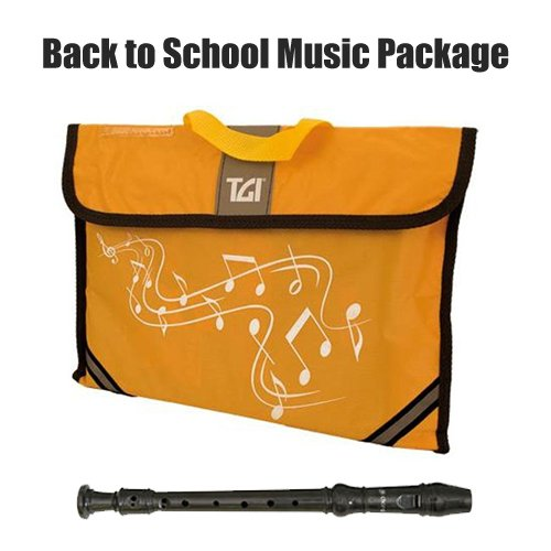 Back to School: Yellow TGI Music Bag and Black Descant Baroque Style Recorder from ASAP