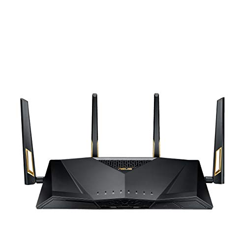 Asus RT-AX88U AX6000 Dual Band Wi-Fi 6 (802.11ax) Router Supporting MU-MIMO and OFDMA Technology, AiProtection Pro Network Security Powered by Trend Micro, wtfast Game Accelerator, Adaptive QoS from ASUS