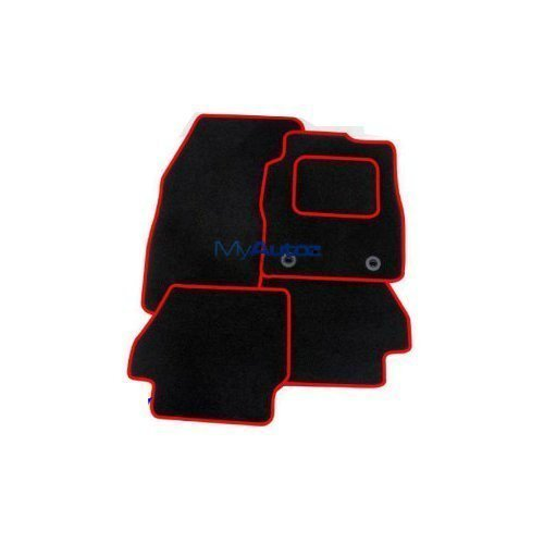 SWIFT (12+) Sport (2 X CLIP) TAILORED BLACK CARPET MATS + ROSSO RED EDGING from AUTOMOTIQ