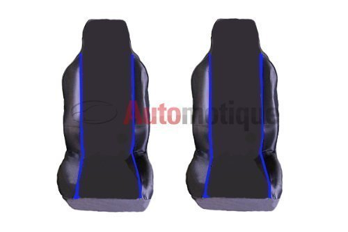 SMART FORTWO PASSION (07-) PREMIUM BLACK SEAT COVERS BLUE PIPING 1-1 from Automotique