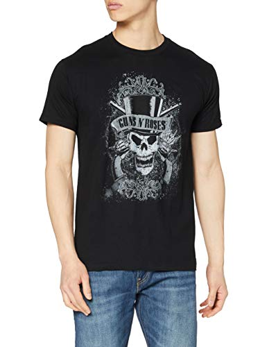 Official Guns N Roses Faded Skull T-Shirt, Black, XXL from AWDIP