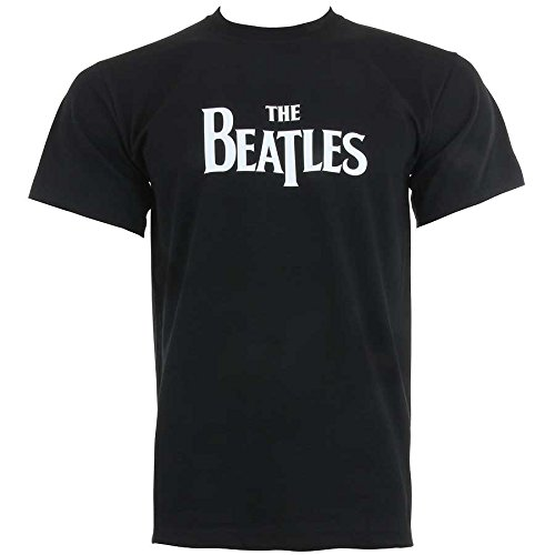 Official The Beatles Drop T Logo T-Shirt, Black, XL from AWDIP
