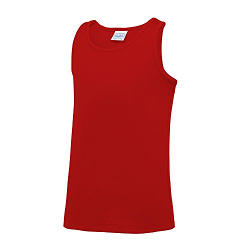 AWDis Just Cool Childrens/Kids Plain Sleeveless Vest Top (7-8 Years) (Fire Red) from AWDis
