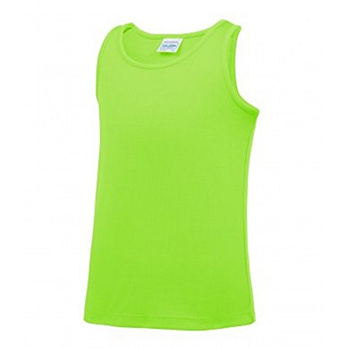 AWDis Just Cool Childrens/Kids Plain Sleeveless Vest Top (9-11 Years) (Electric Green) from AWDis