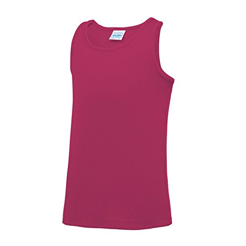 AWDis Just Cool Childrens/Kids Plain Sleeveless Vest Top (9-11 Years) (Hot Pink) from AWDis