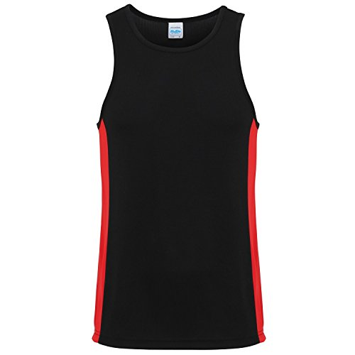 AWDis Just Cool Mens Contrast Panel Sports Vest Top (XL) (Jet Black/Fire Red) from AWDis