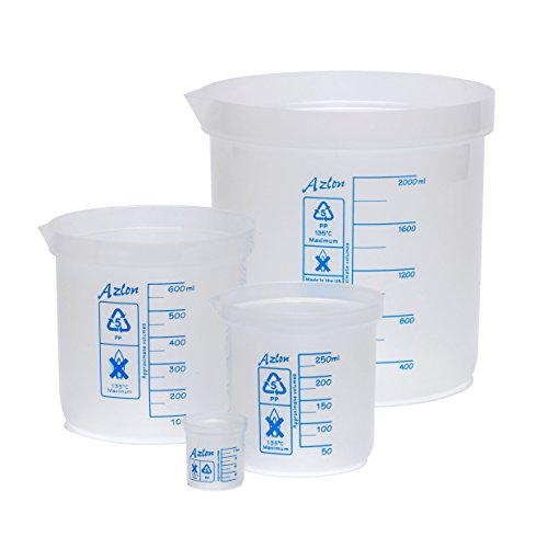 AZLON BDA240P Plastic, Beaker, Low Form Graduation, PP, 1000 ml (Pack of 5) from AZLON