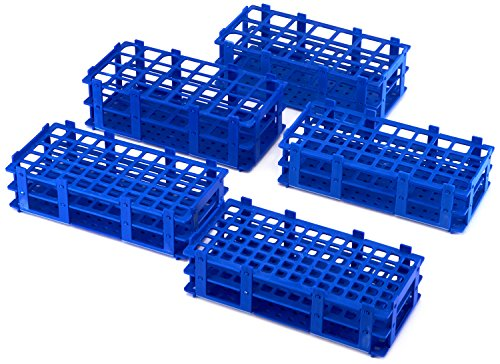 AZLON RPB018P Plastic, Blue, Test Tube Rack, Polypropylene, 18 mm (Pack of 5) from AZLON