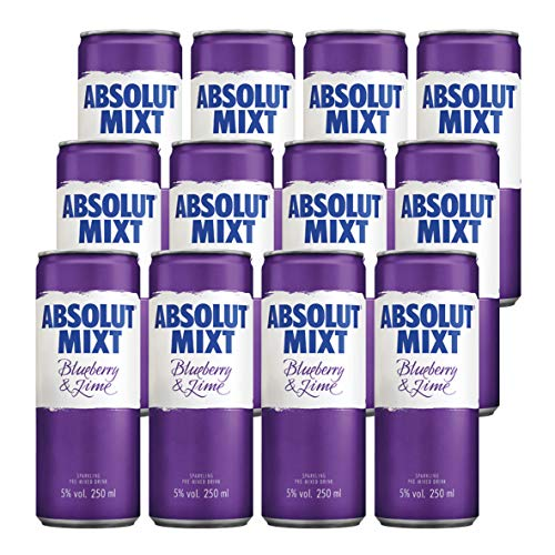 Absolut Mixt Blueberry and Lime Flavour Sparkling Pre-Mixed Drink 25 cl (Case of 12) from Absolut