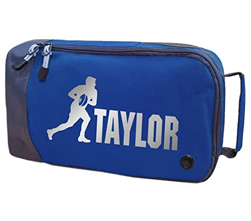 Absolutely Top Childrens Personalised Rugby Boot Bag (Deep Sea Blue/Metallic Silver Print) from Absolutely Top