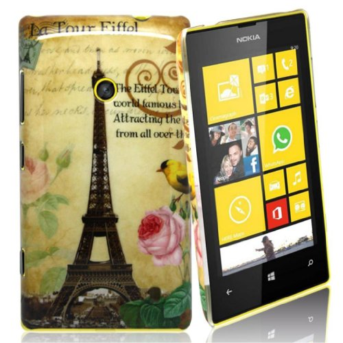 "Accessory Master - Hard Cover for Nokia Lumia 520 -""Eiffel Tower with Flowers Motif from Accessory Master"