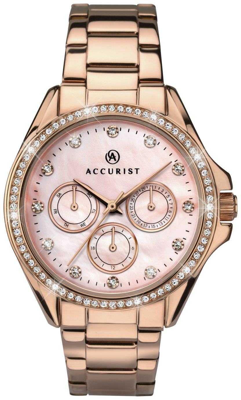 Accurist - Ladies Pink Dial Rose Gold Plated Bracelet - Watch from Accurist