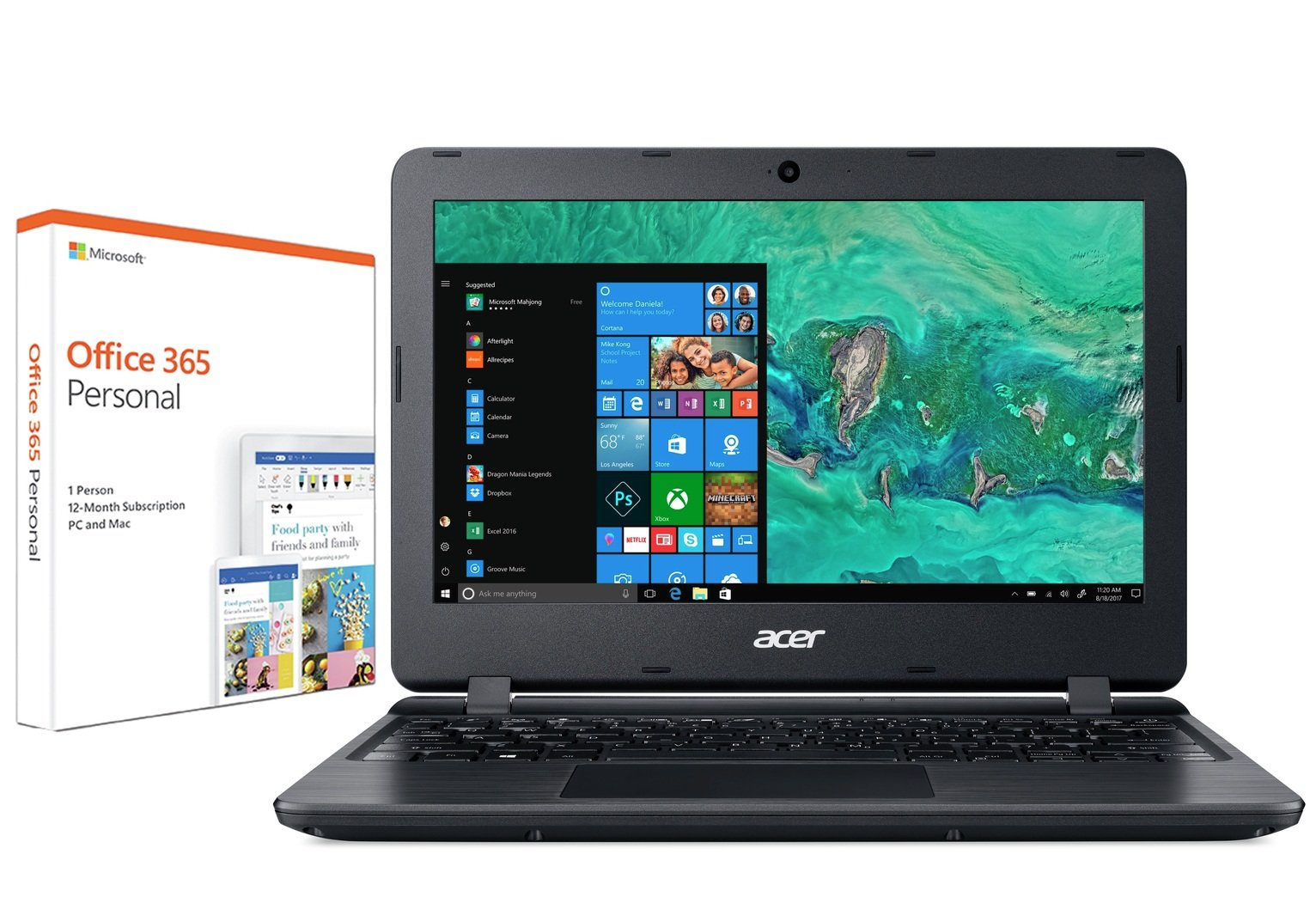 Acer Aspire 1 11In Celeron 2GB 32GB Cloudbook Laptop - Black from Acer