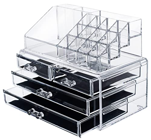 Acrylic Makeup Organizer Cosmetic Jewerly Display Box 2 Piece Set by AcryliCase® from Acrylic