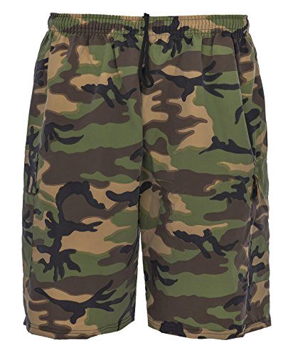 Men Summer Shorts Cargo Combat Style in plain and print fabrics SIZE S TO 5XL (3XL, camo l/green white black grey) from Active Wear