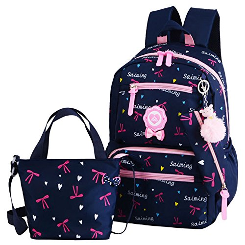 Adanina 3pcs Heart Bowknot Prints Elementary School Bag Primary School Backpack Sets with Lunch Bags from Adanina