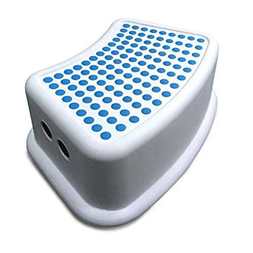 Addis Kids Bathroom Booster Step Stool, White & Blue, White/Blue, 24 x 36.5 x 13 cm from Addis