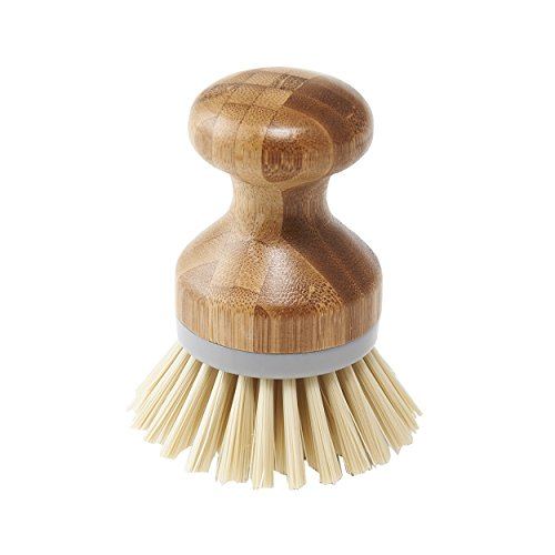 Addis Palm Dish Brush Natural and Grey, Bamboo, Grey/Wood, 6.7 x 6.7 x 9 cm from Addis