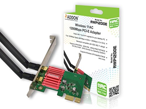 Addon AWP1200E Wireless AC Dual Band 1200Mbps PCI-E Adapter from Addon-Tech