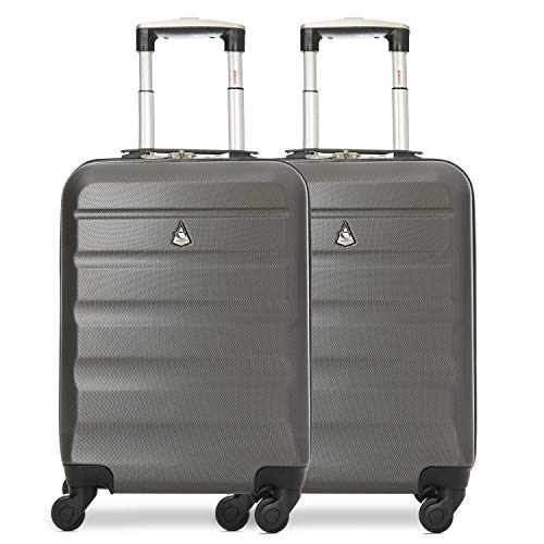 Aerolite ABS Hard Shell Lightweight 4 Wheel Carry On Cabin Hand Luggage Travel Suitcase (Set of 2, Charcoal) from Aerolite