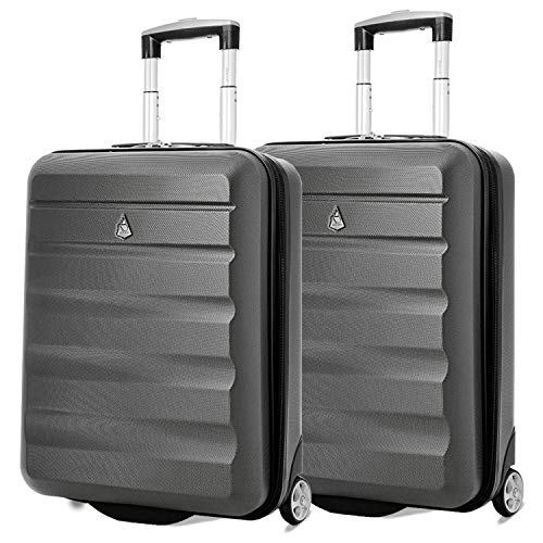 Aerolite 55x40x20 Ryanair Maximum Allowance 40L Lightweight Hard Shell Carry On Hand Cabin Luggage Travel Suitcase with 2 Wheels - Also Approved for Easyjet, British Airways, Jet2 (2 x Charcoal) from Aerolite