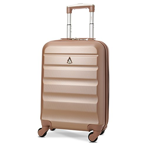 Aerolite Super Lightweight ABS Hard Shell Travel Carry On Cabin Hand Luggage Suitcase with 4 Wheels, Approved for Ryanair, easyJet, British Airways, Virgin Atlantic and Many More (Rose Gold) from Aerolite