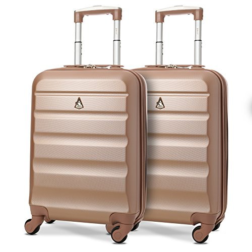 "Set of 2 Aerolite 21""/55cm ABS Cabin Hand Luggage Hardshell Travel Suitcase (Rose Gold) from Aerolite"