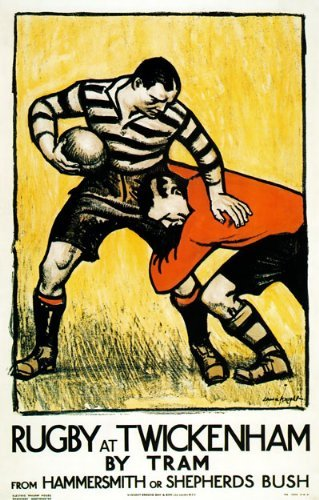 "TX132 Vintage Rugby At Twickenham By Tram Hammersmith & Shepherds Bush Travel Poster Re-Print - A4 (297 x 210mm) 11.7"" x 8.3"" from Affiche Prints"