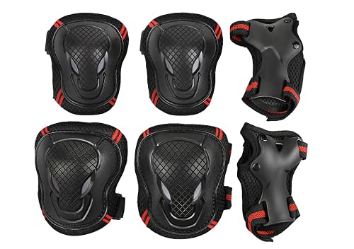 Kids Girls Boys Knee Elbow Wrist Braces Pads Set Reflective Adjustable Collision Avoidance Skate Roller Blading Skateboarding Biking Knee Braces Support Elbow Pads Wrist Guards Protector Kneepad from Afinder