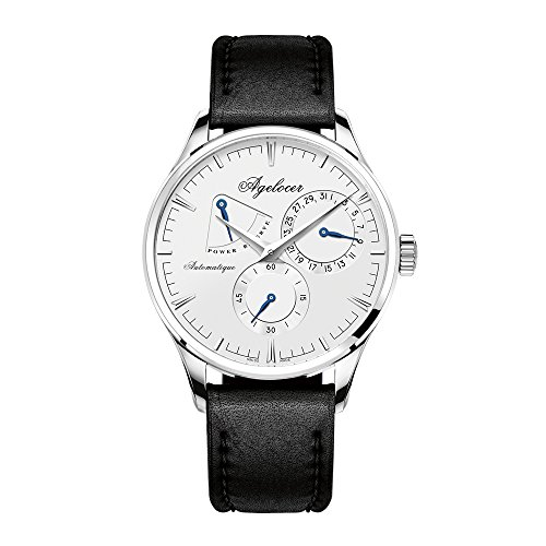 Agelocer Ultra Thin Steel Watch for Men Analog Automatic Watch Leather Strap 4101A1 from Agelocer