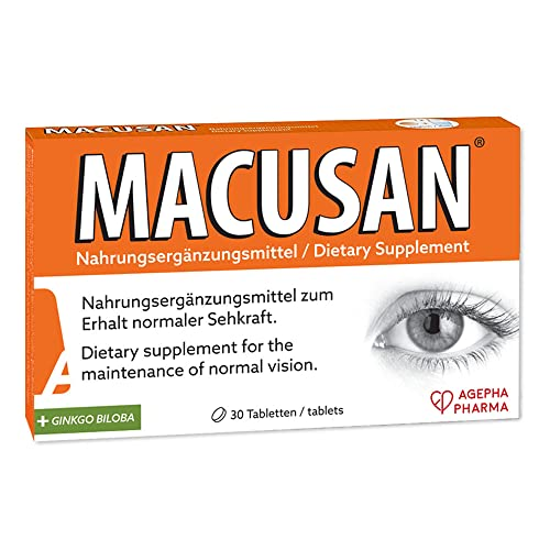 Macusan® Supplements for Eyes - Macular Degeneration Vitamins with Lutein Zeaxanthin Ginkgo Biloba, Omega3 to Improve Eyesight in Age Related Macular Degeneration (AMD) I 30 Vision Vitamin Tablets from MACUSAN