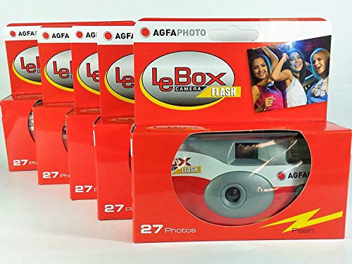 AgfaPhoto LeBox 400 Disposable Camera with Flash 27 Exposures with Flash Pack of 5) for Wedding, Party, Party from Agfa Lebox