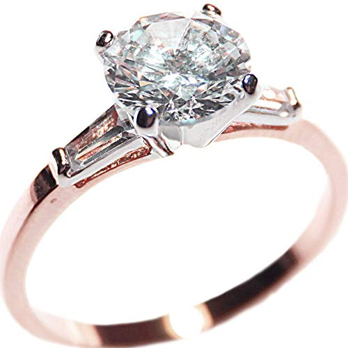 Ah! Jewellery® 4.00ct Ladies Two Tone Sparkling Simulated Diamond Ring. Rose & White Gold Filled. 8.5mm Center Stone. Baguette Side Setting. Outstanding Quality. from Ah! Jewellery