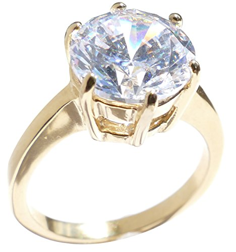 Ah! Jewellery 6.4ct Gold Filled Solitaire Setting Lab Created Diamond Ring. 10mm Centre Stone. 4.4gr Total Weight. 4mm Total Width. Excellent Quality. from Ah! Jewellery